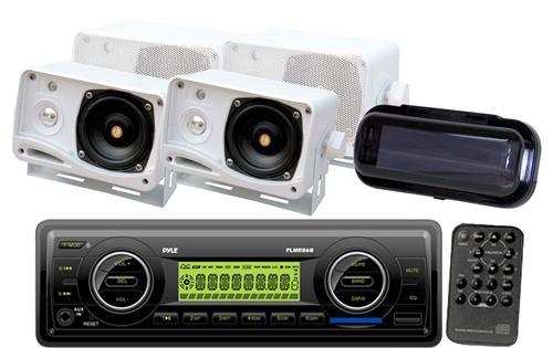 "New Marine Boat MP3 USB AUX Radio PLMR18 Pair of 3.5/"" White Box Speakers PLMR24"