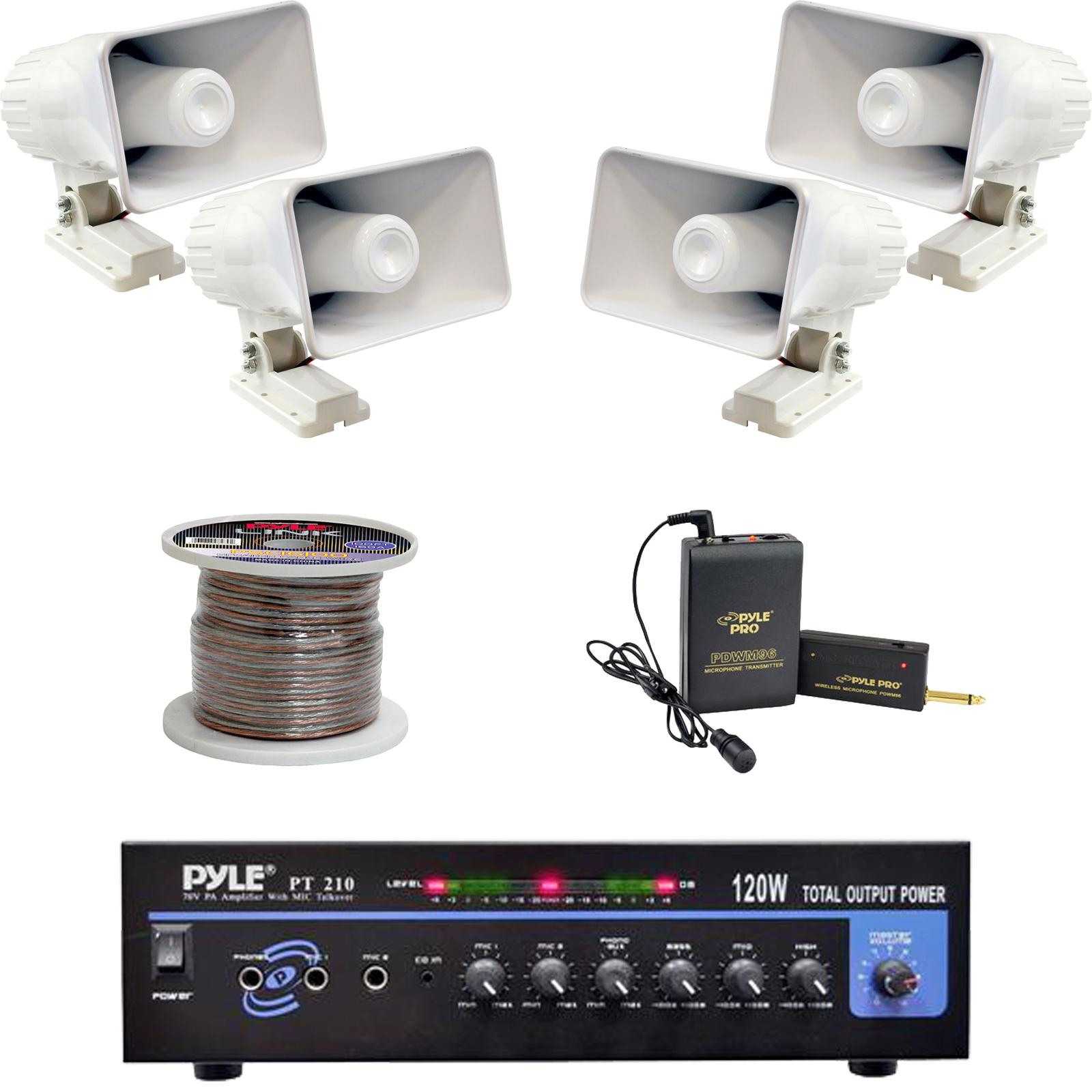 """Lavalier Mic System PT210 Mono Mic Amplifier Speaker Wire PA 6/"""" Horn Speakers"""