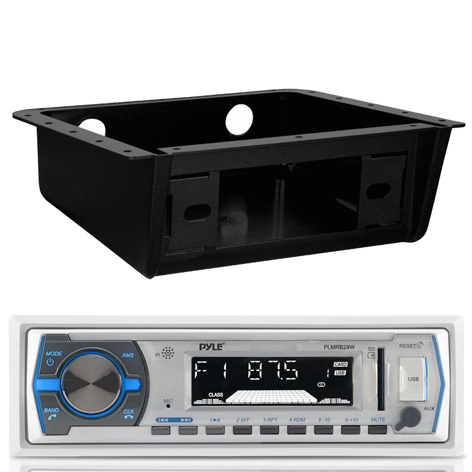 Enrock Marine Single-DIN Car Boat Radio Dash Kit Protectors Black // White