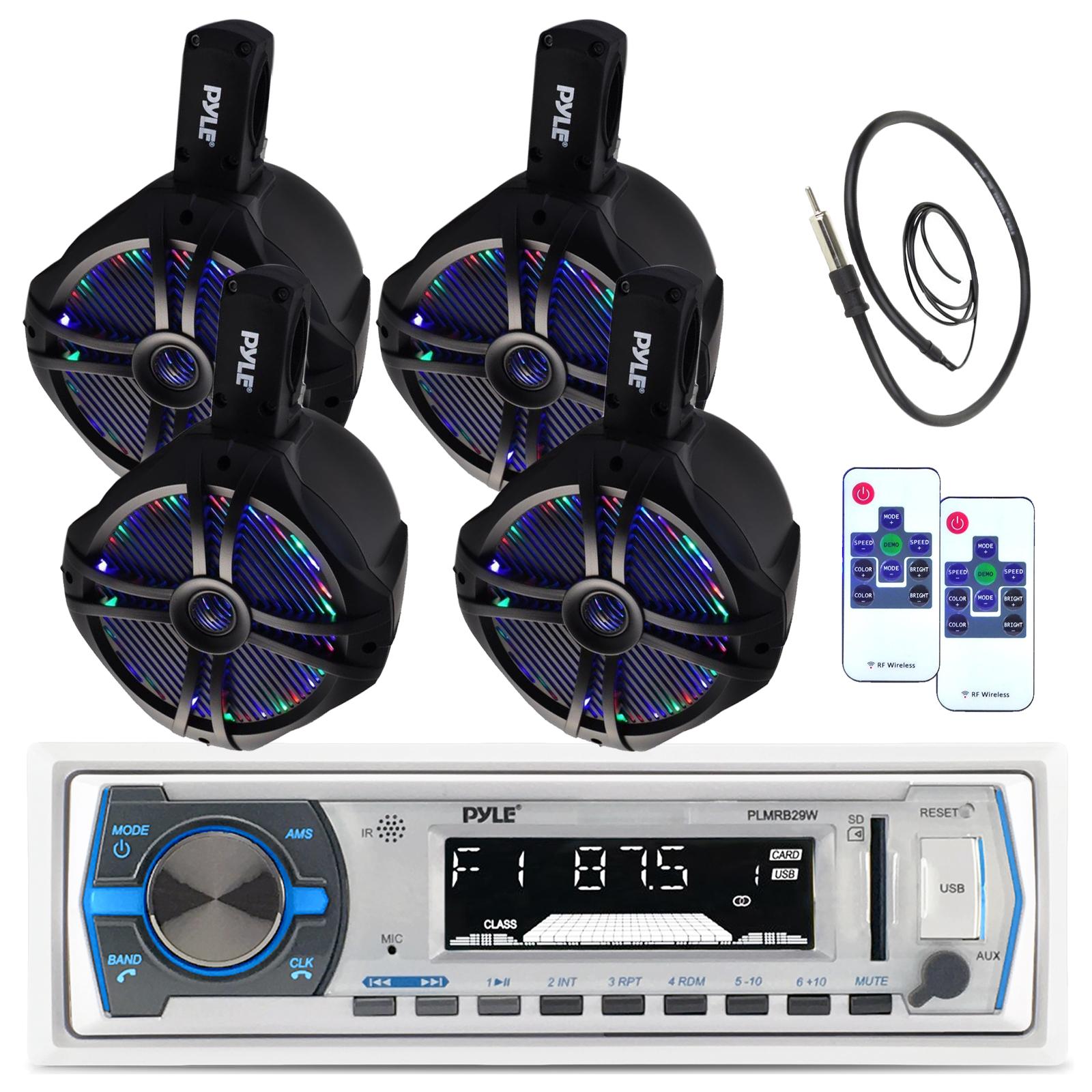 "6.5/"" Wake Board Marine Speaker Set Pyle Bluetooth USB AM FM Receiver /& Antenna"
