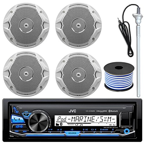 "JVC Bluetooth USB Radio Remote 4 JBL Marine 6.5/"" 150W Speakers//Wires Antenna"
