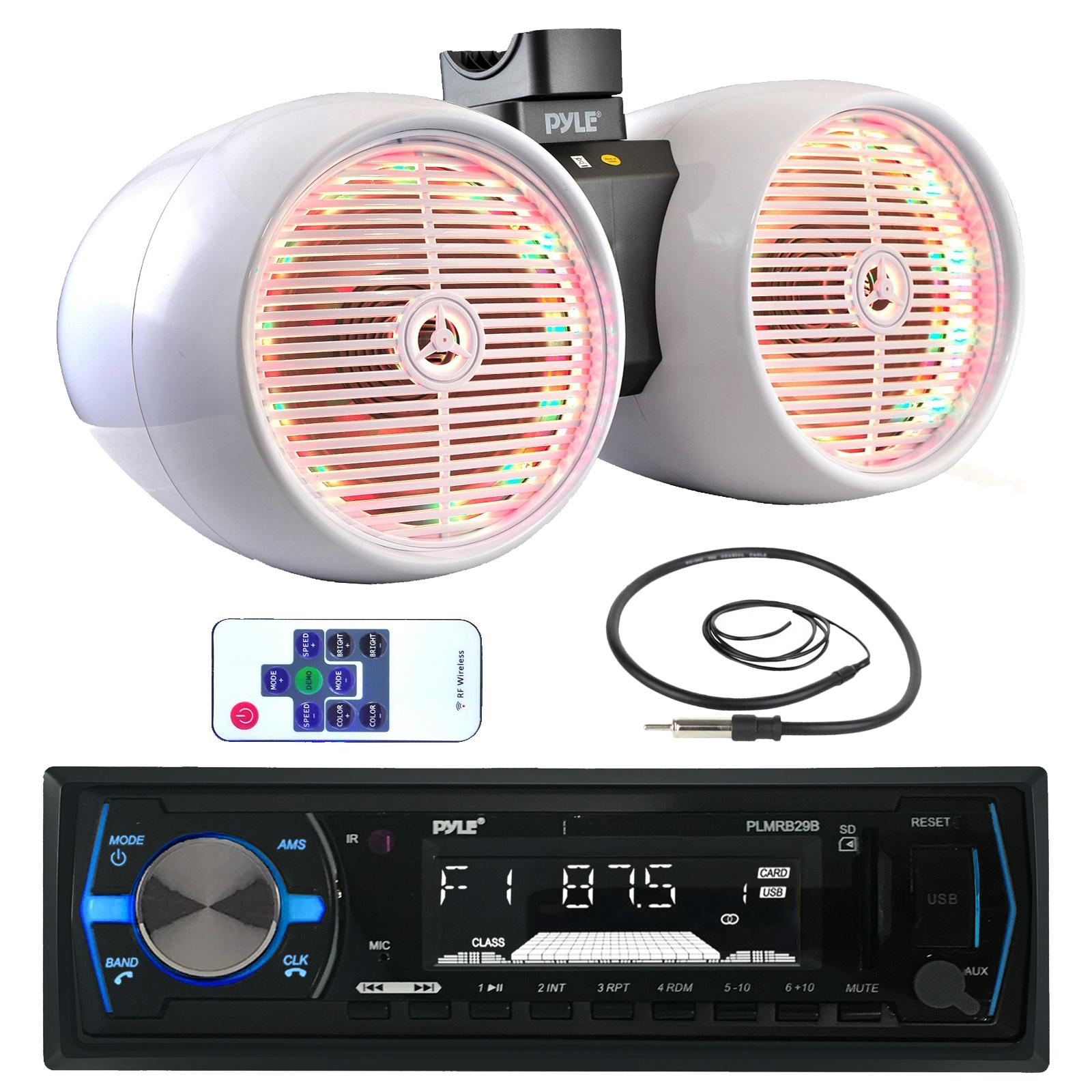 "2x 6.5/"" Wake Board Speakers Pyle Bluetooth Marine Radio MP3//USB//SD CD AM//FM"