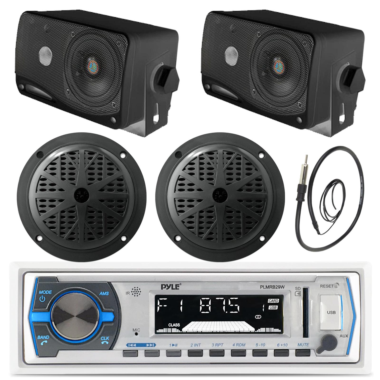 "3.5/"" Black Box Speakers,Pyle Black Round Marine Bluetooth AUX USB Radio Antenna"