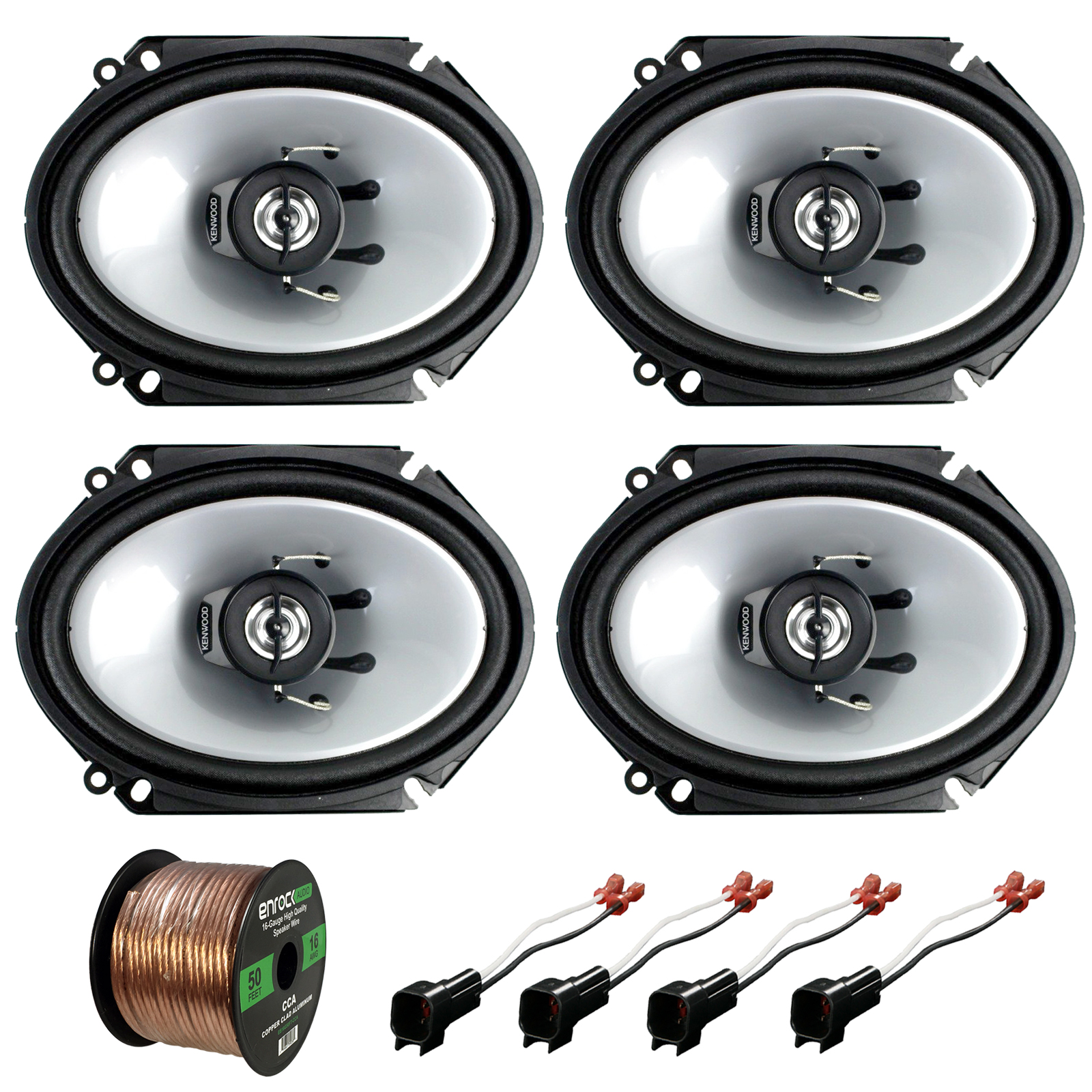 Kenwood Car 6x8 Coaxial 2way Speakers 98 Up Ford Harness 50ft