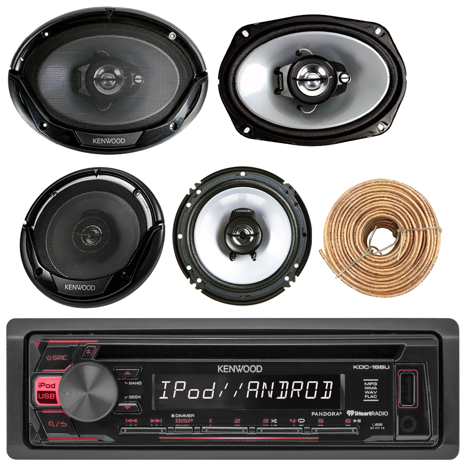 50 ft Speaker Wire 2 Speakers 6.5 Inch Kenwood Bluetooth AM//FM Radio Car MP3 Receiver Player Bundle with 2 Speakers 6x9 Inch 400 Watt Amplifier