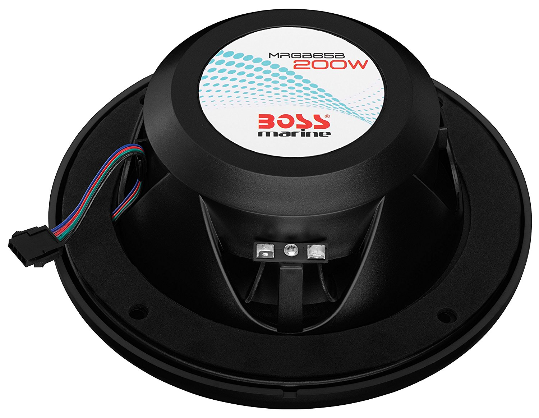 "BOSS MRGB65B Marine 6.5/"" 200-Watt Multicolor Illumination Full Range Speakers"