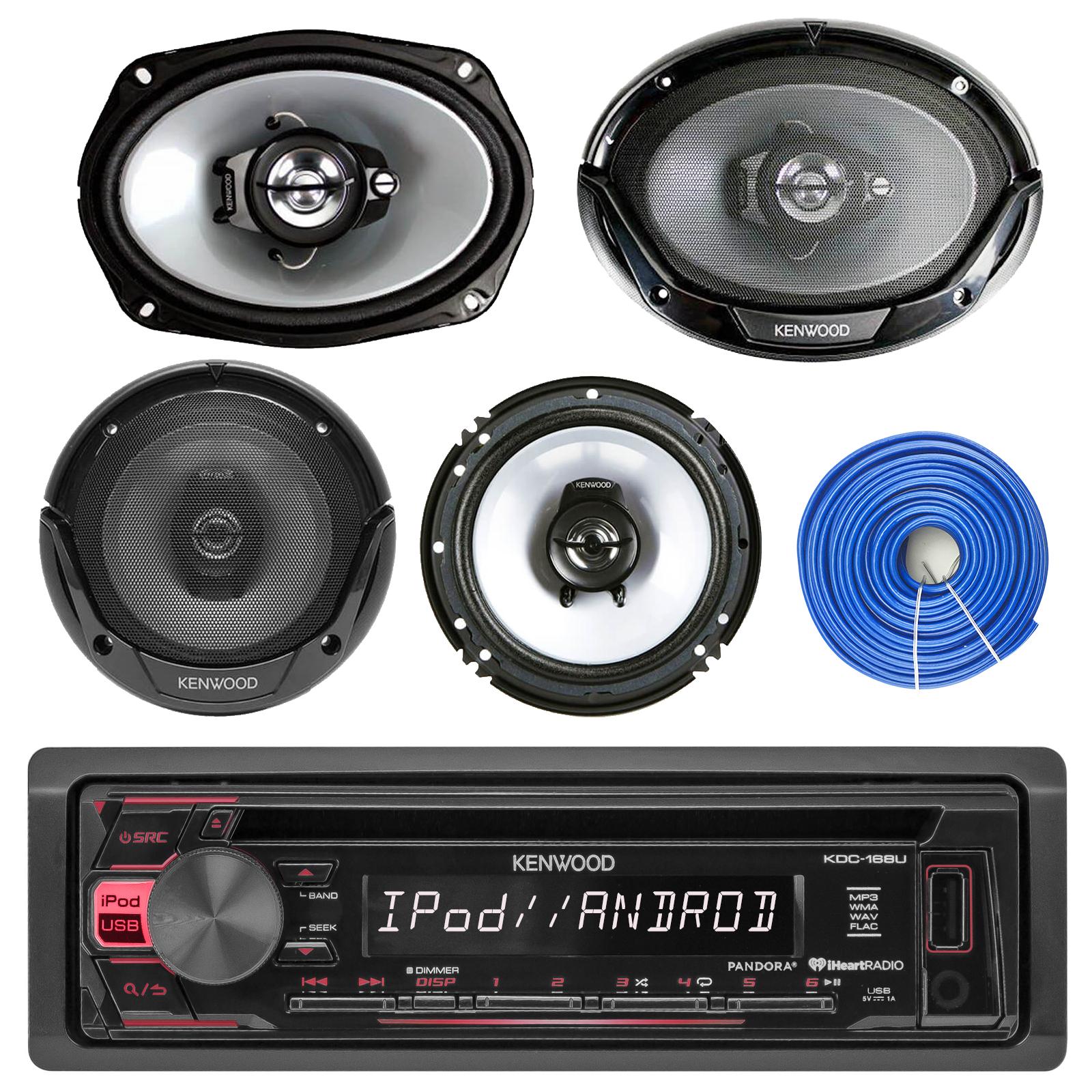 Kenwood Usb Aux Cd Mp3 Car Receiver 4 6x9 65car Speakers W Kacm3004 Channel 600w Amp Marine Atv Boat Amplifier With Wiring Kit Speaker Wire