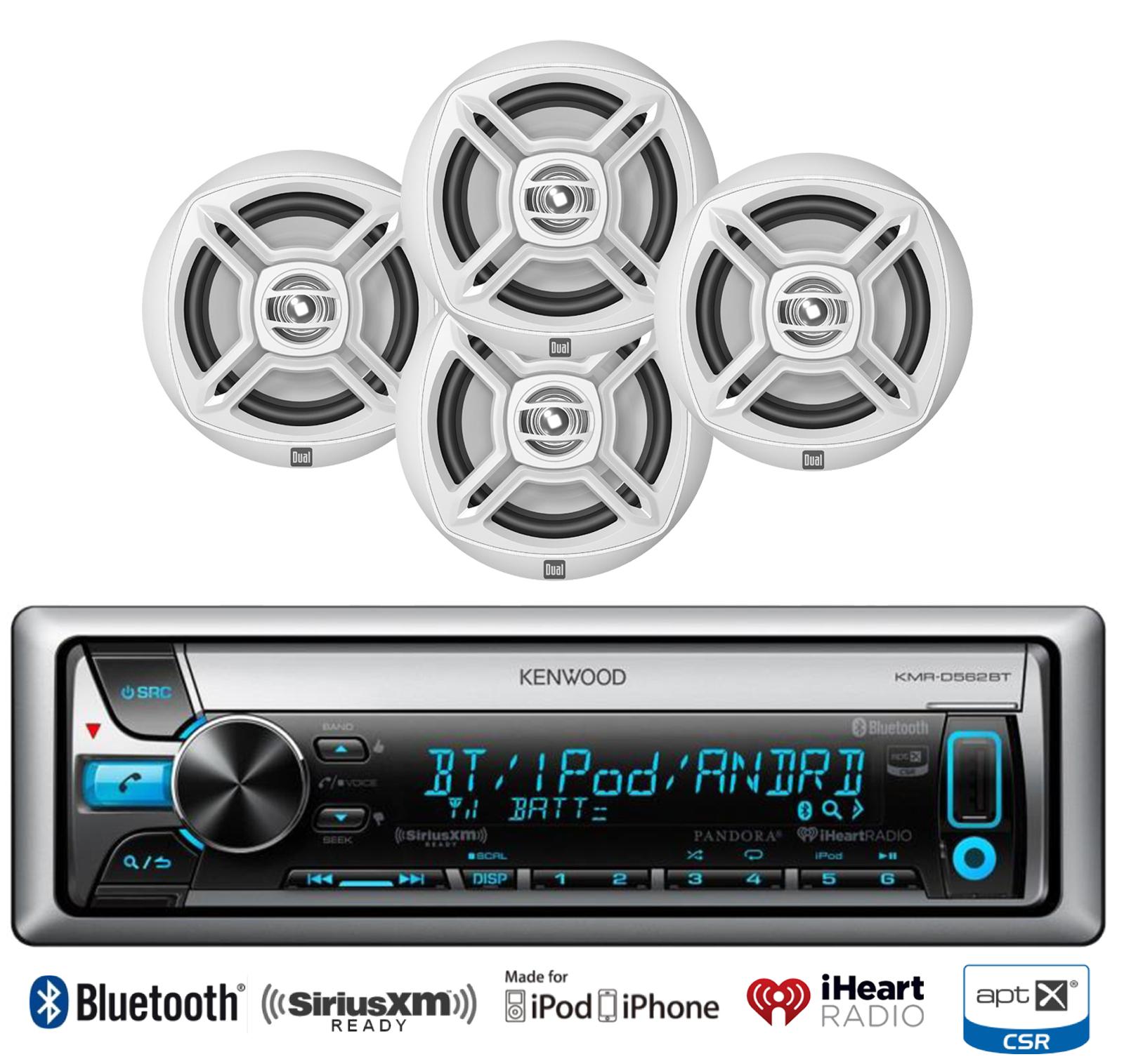 Kenwood Bluetooth Usb Ipod Cd Marine Radio 4 Dual White 65 Kacm3004 Channel 600w Amp Atv Boat Amplifier With Wiring Kit Speaker Set
