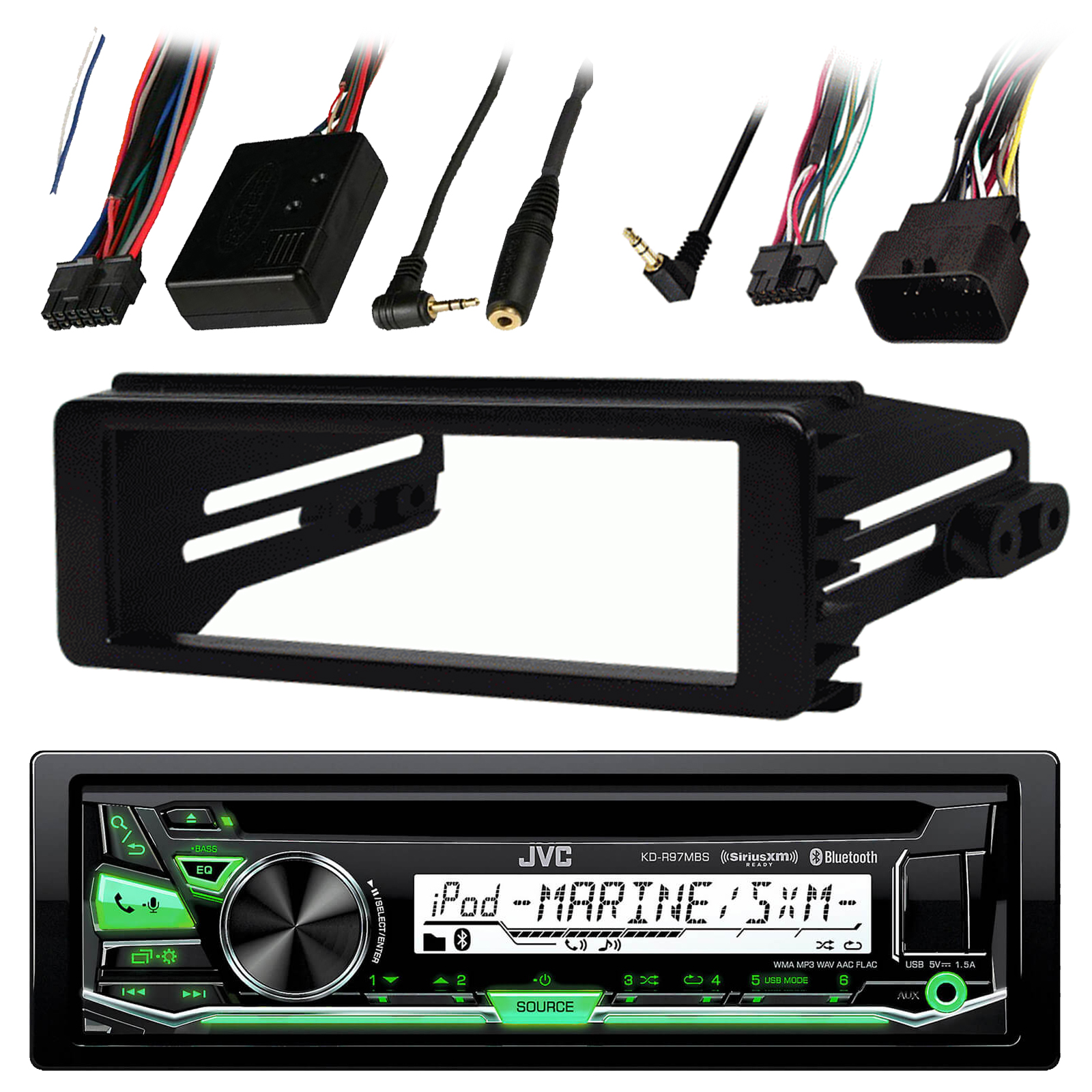 98-2013 JVC Harley Touring ATV Install Adapter Dash Kit FLHT CD MP3 AM//FM Radio Stereo with Bluetooth FLHTC CD Dash FLHX with Enrock Marine Radio Antenna Stereo Cover