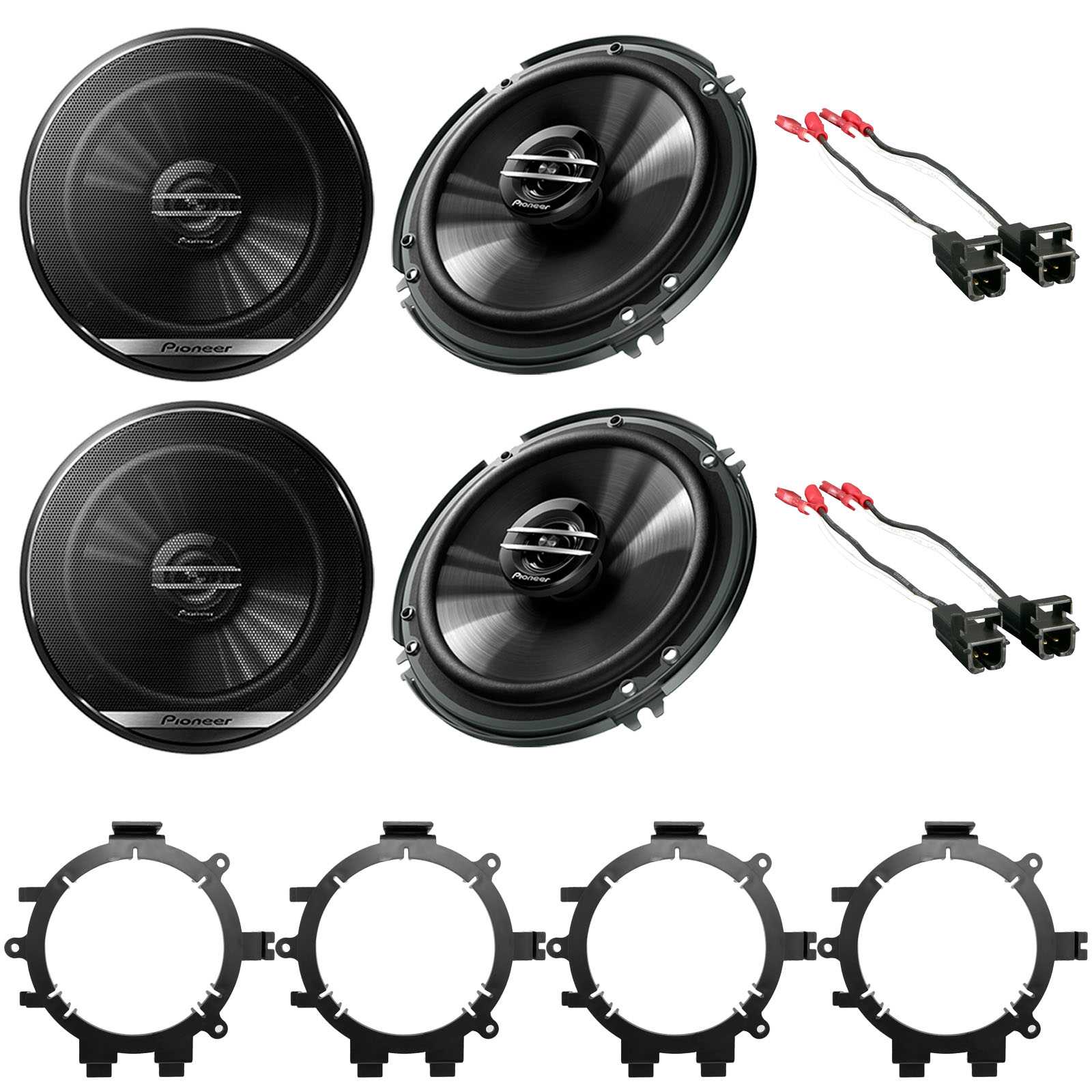 """Mounting Brackets 4x Pioneer 6.5/"""" 2-Way Coaxial Speakers w// Harnesses Wire"""