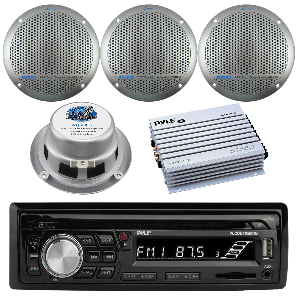 "Bluetooth Marine Radio MP3//USB CD Amp Antenna Cover 4x 5.25/"" Speakers"