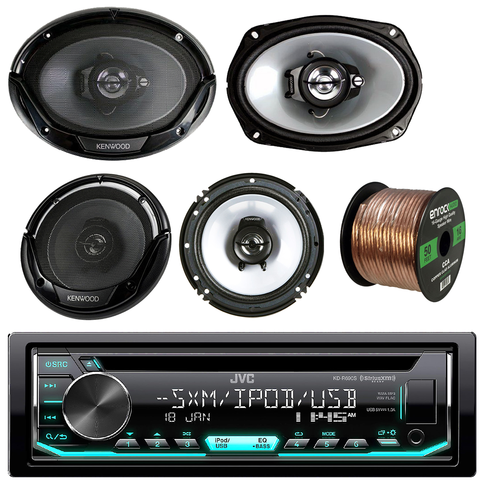 Jvc Car Cd Usb Stereo Kenwood 6x9 And 65 Speakers 18gauge 50ft