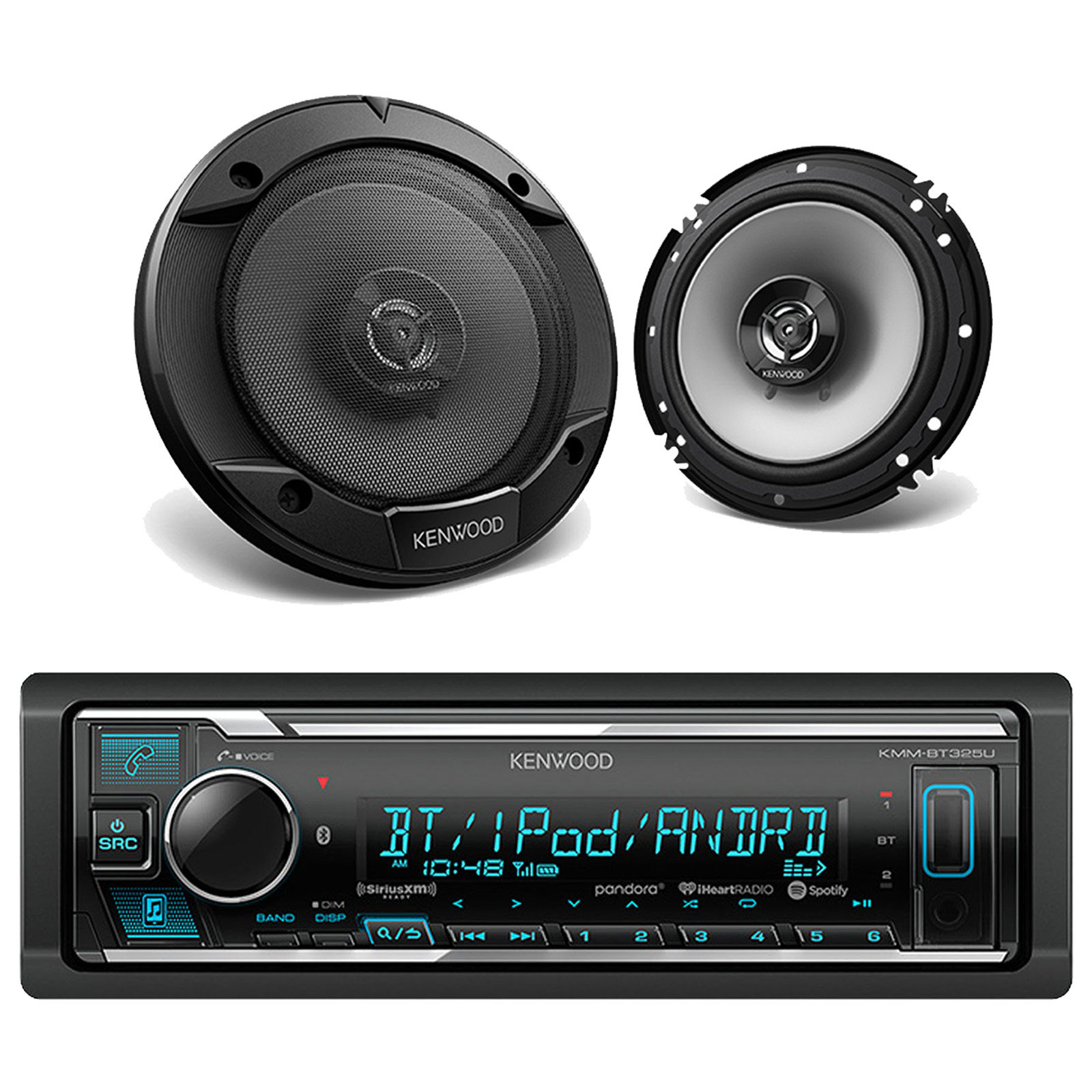 Kmmbt325u Car Ipod Iphone Bluetooth Usb Receiver 2 Kenwood 65 Kacm3004 4 Channel 600w Amp Marine Atv Boat Amplifier With Wiring Kit A Total Of Speakers Are Included In This Package