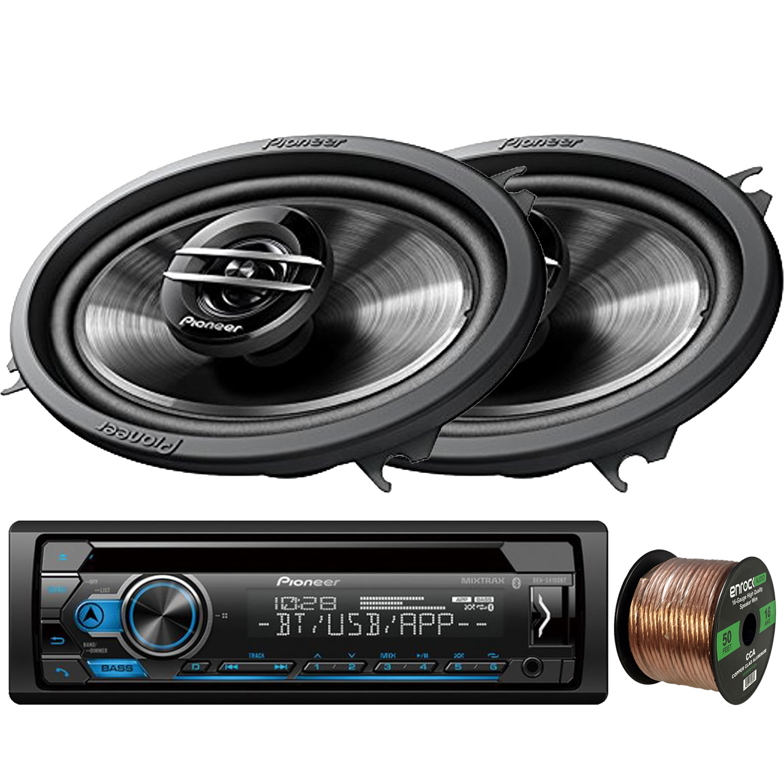 16-Gauge 50Ft Pioneer DEH-S4100BT in-Dash Single-DIN CD Player Bluetooth Receiver Speaker Wire 2 x Enrock Audio 6.5 2-Way Marine-Grade Coaxial Car//Boat Audio Stereo Speakers