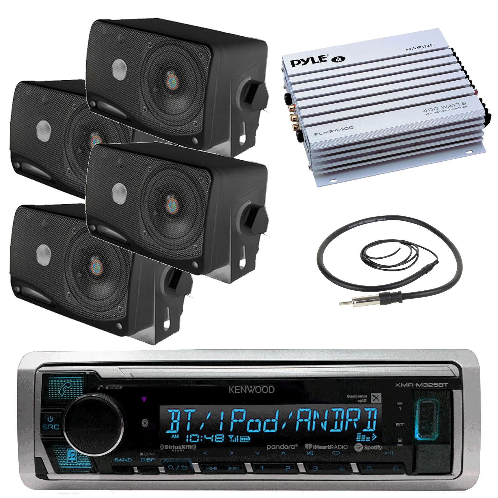 Cover 800W Amp Antenna New Kenwood Marine Radio CD AUX Input w//4 Box Speakers