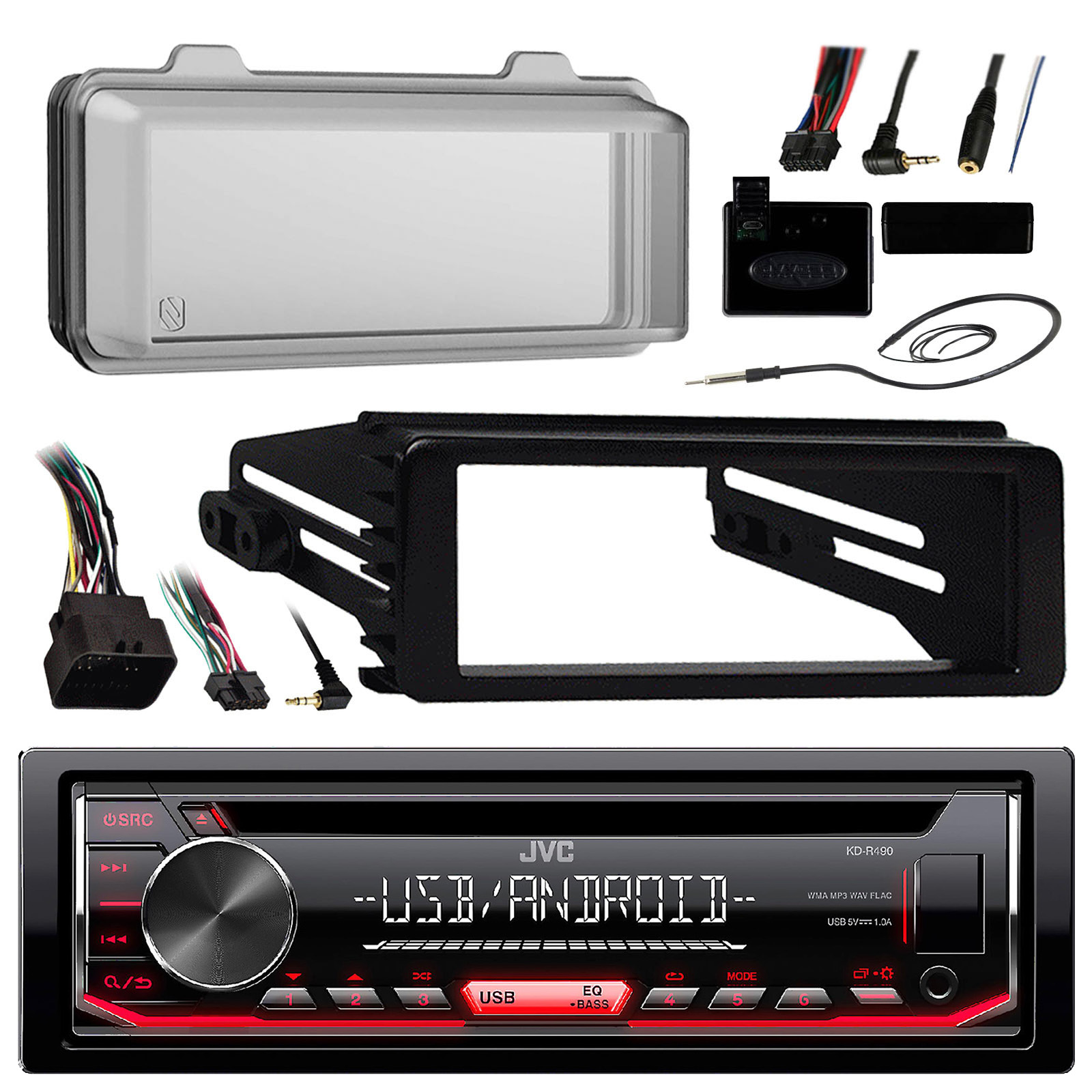 Details about KDR490 JVC Radio, 98-13 Harley Install Adapter Kit, Antenna,  Radio Cover