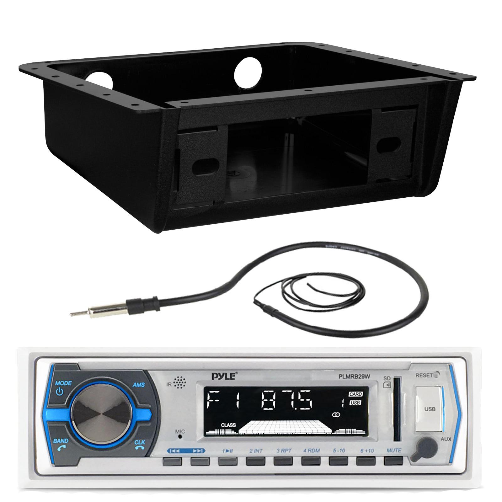 "Bluetooth Pyle Marine USB White Radio 5.25/"" Speakers,3.5/"" Box Speakers Antenna"