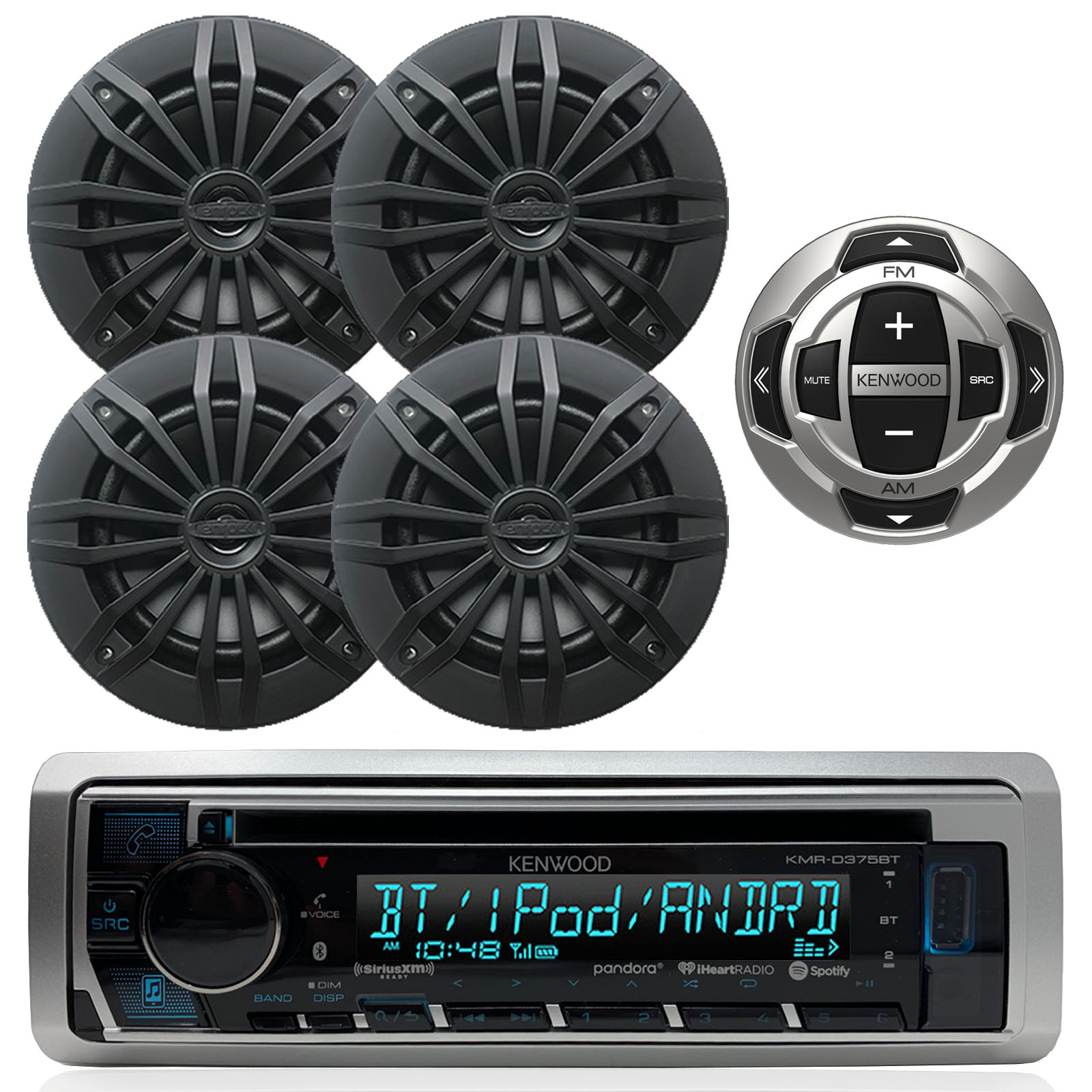 6.5 Black 180W EnrockMarine EM265B Pair 2-Way 180-watt High-Performance Water-Resistant Loudspeaker