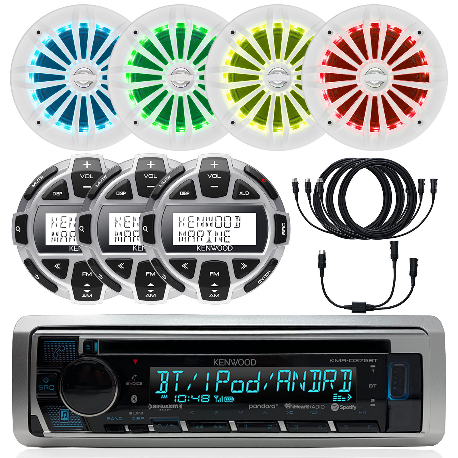 4X Enrock 6.5 White 180W Marine Speakers w//LED Illumination and Remote Control Kenwood Single DIN Bluetooth in-Dash CD//AM//FM//Digital Media Marine Stereo Receiver Radio Cover