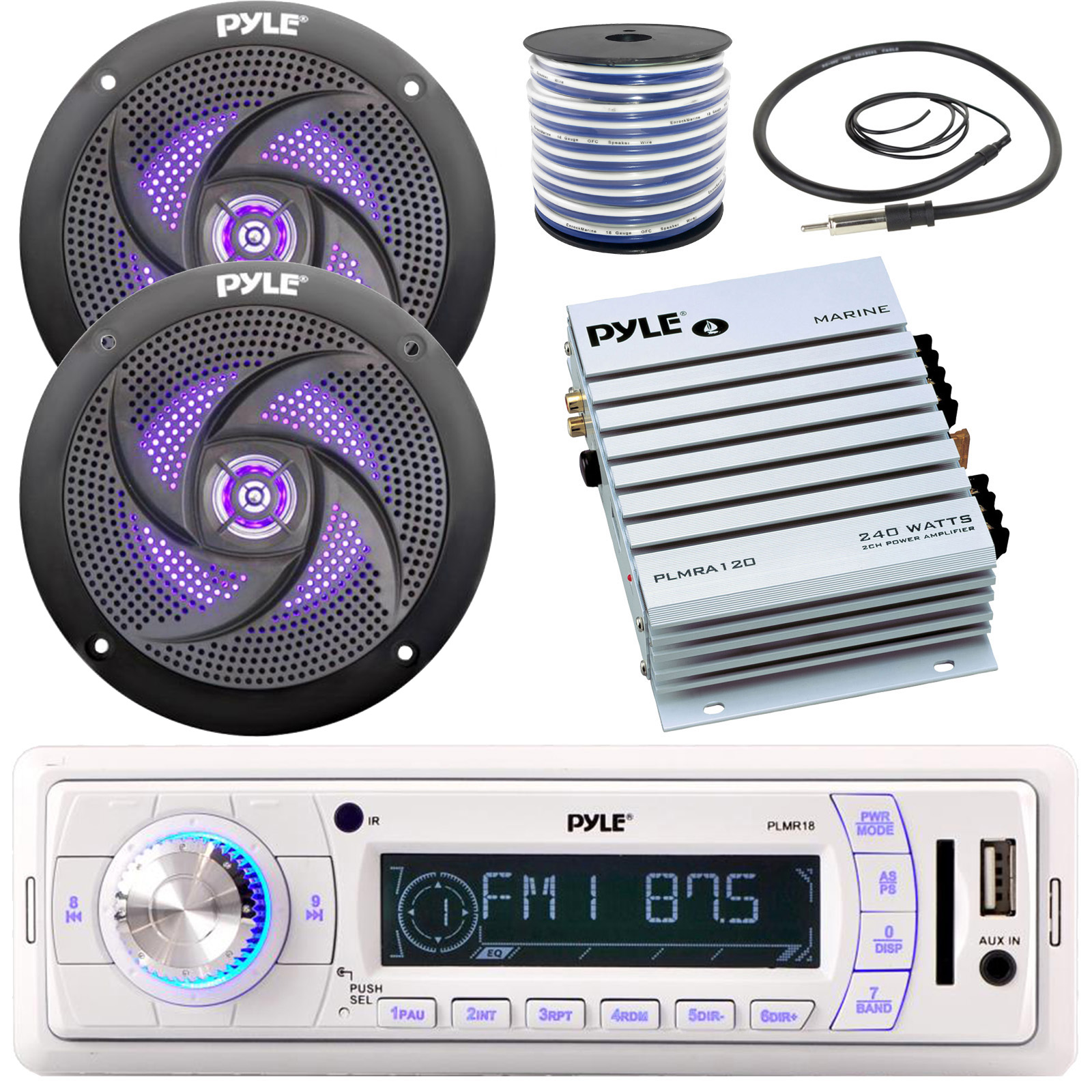 """6.5/"""" 240W Marine Speakers w// LED Lights Pyle Boat Receiver, Antenna Cover 4"""