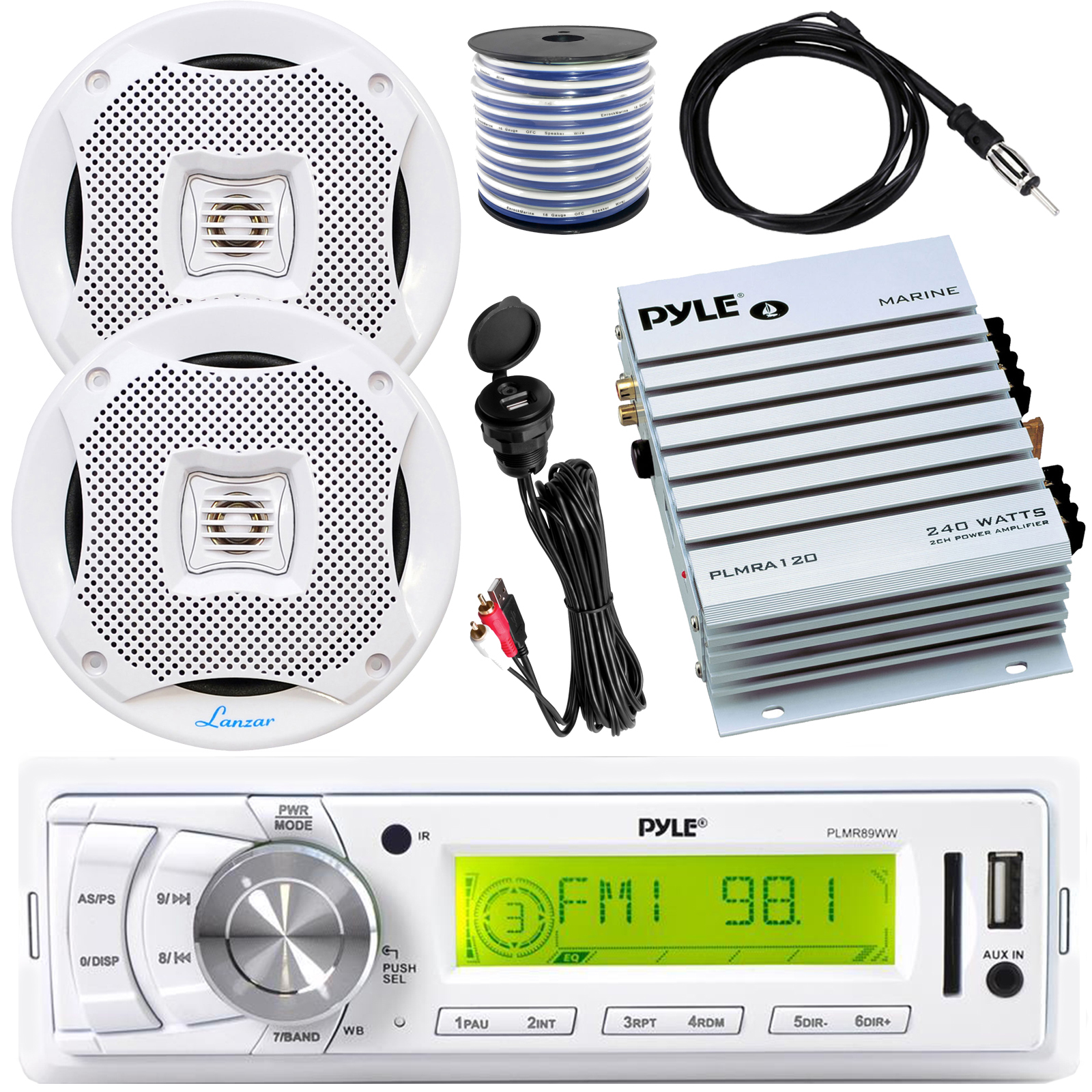 Pyle IN-Dash Marine MP3 Player//Weatherband//USB/&SD 4/'/' Dual Cone Stereo Speakers