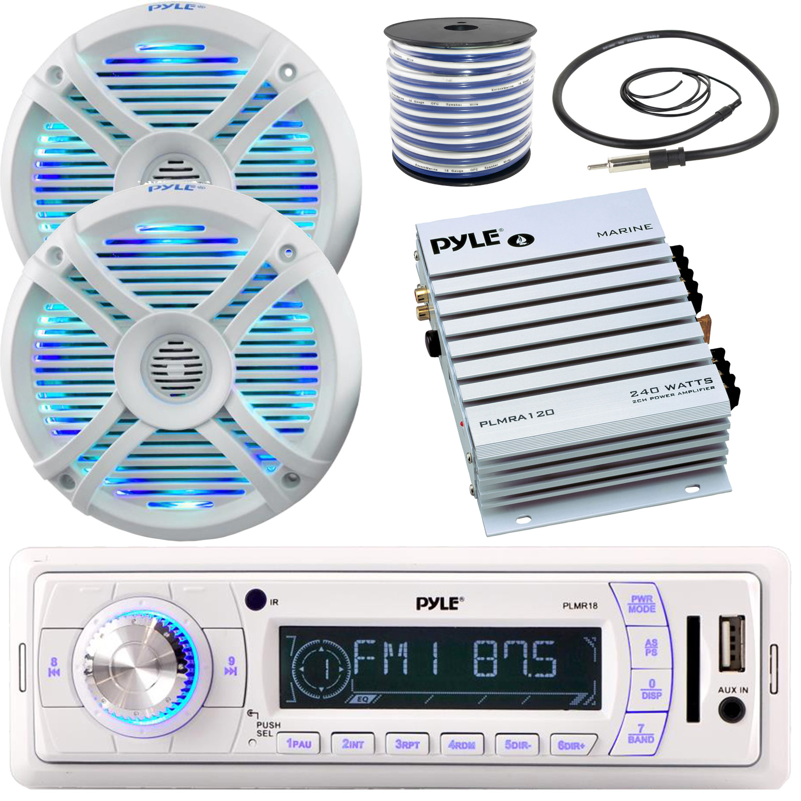 """Pyle Headunit Receiver 4/"""" 100W Boat Marine Speakers w//LEDs Cover Antenna Wire"""