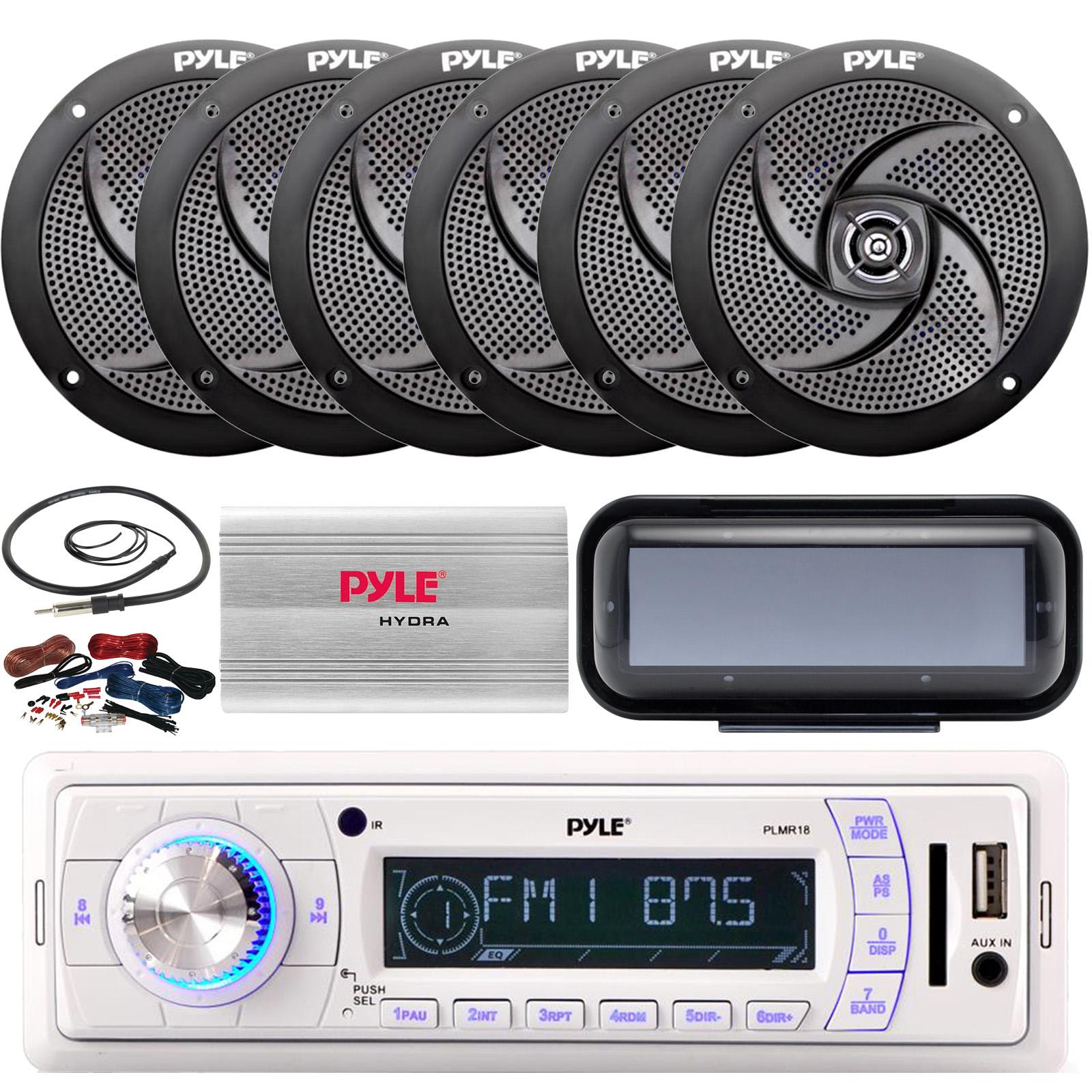 Pyle Marine AM FM Remote Receiver Antenna,Amp Radio Shield 2x 6.5/'/' Speakers