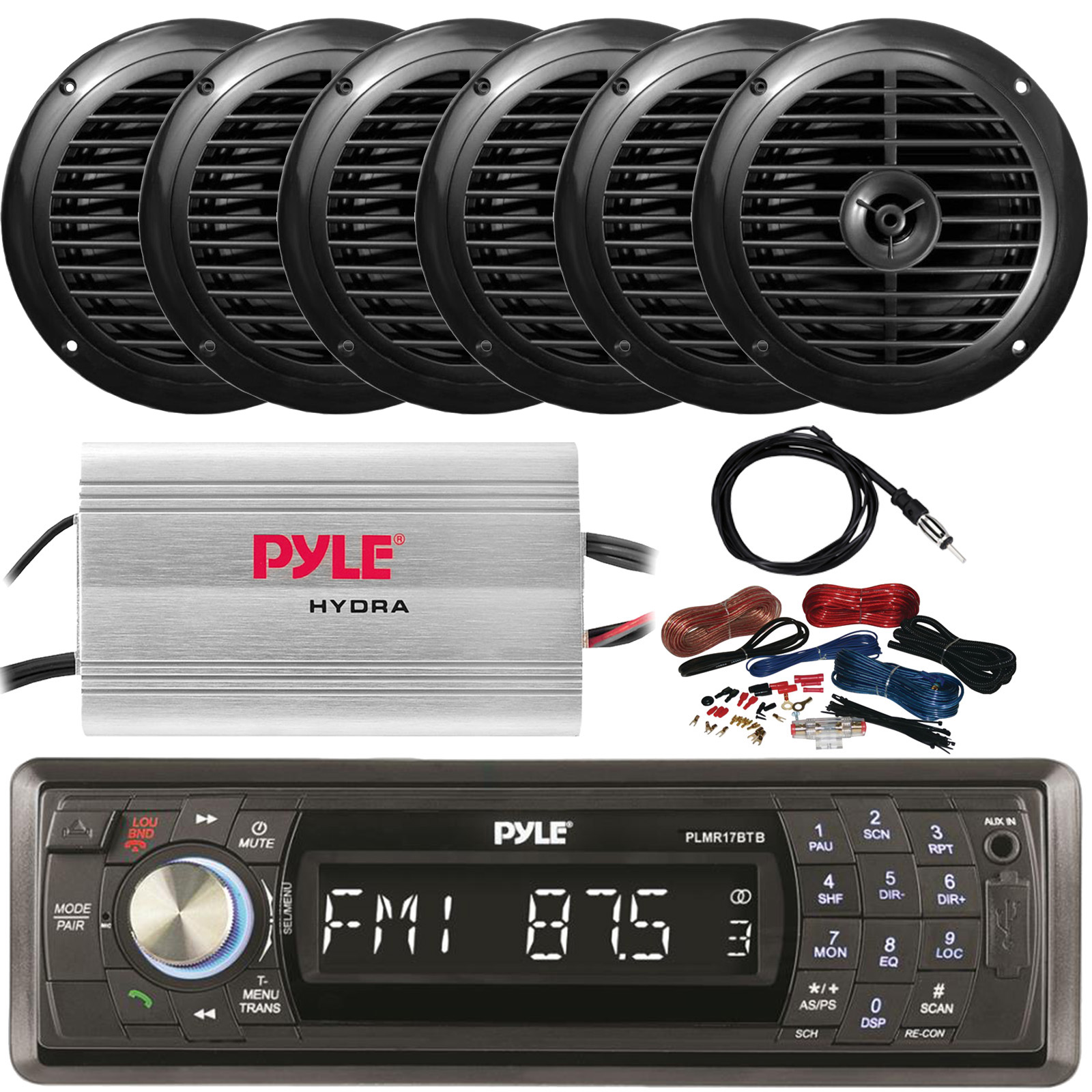 Details about Pyle PLMR17BTB Bluetooth Receiver, 6x 6.5'' Marine Speakers, on