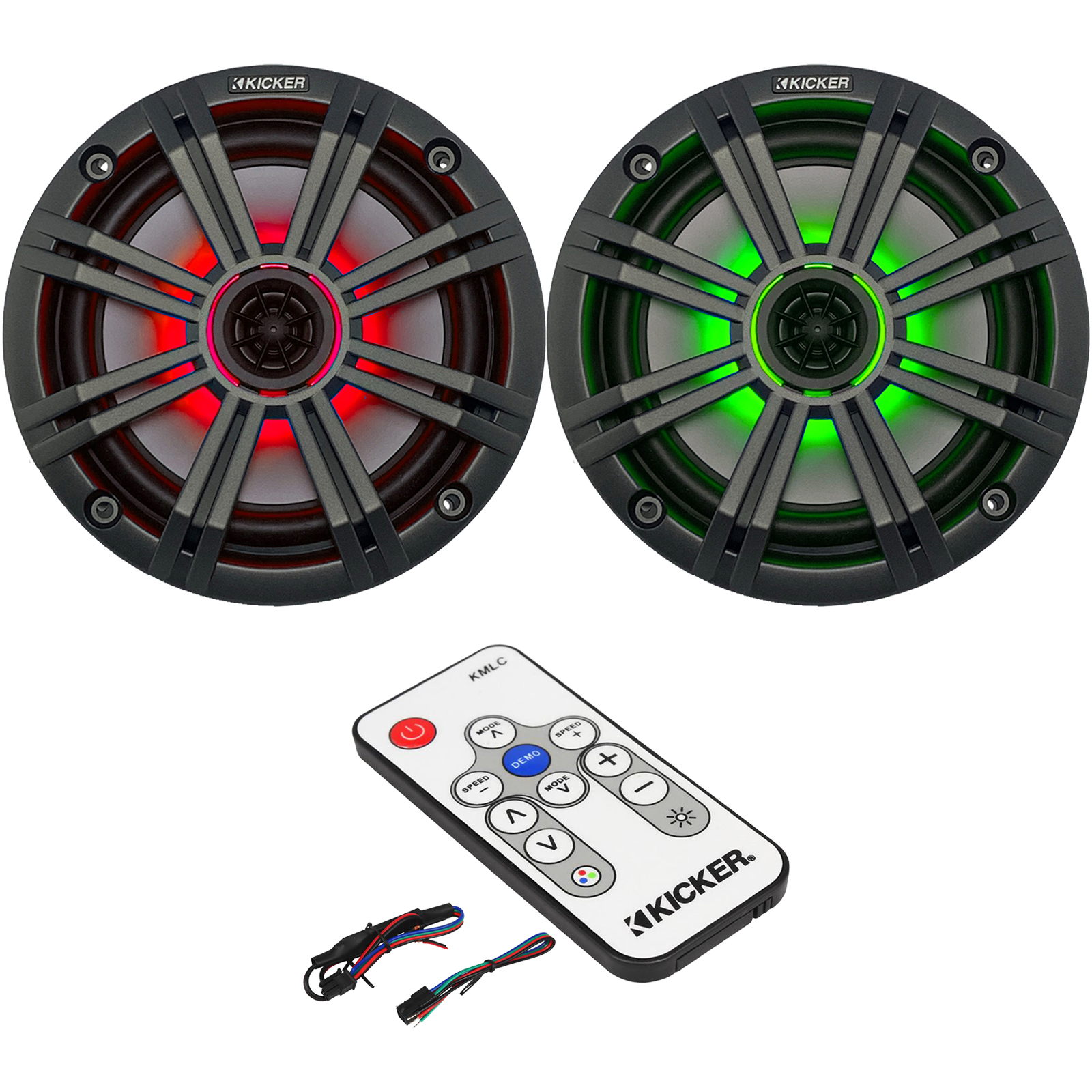 """4-Speakers Kicker 6.5/"""" 195W Marine Audio Coaxial Color LED Lights White Grills"""